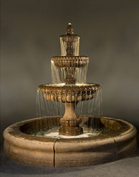 Pioggia Large Outdoor Fountain with Fiore Pond, Large Outdoor Fountains - Outdoor Fountain Pros