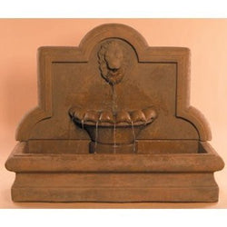 Lion Cast Stone Wall Outdoor Fountain - Large, Wall Outdoor Fountains - Outdoor Fountain Pros