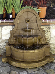 Liguria Wall Water Fountain with Step and Concrete Spout - Outdoor Fountain Pros