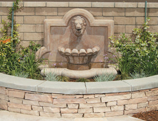 Large Lion Quatrefoil Outdoor Wall Water Fountain