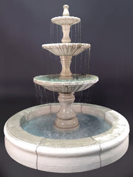 Monaco Three Tier Fountain with Fiore Pond, Gray - Outdoor Art Pros