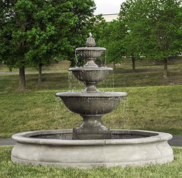 Monteros Tiered Outdoor Water Fountain in Basin, Large Outdoor Fountains - Outdoor Fountain Pros