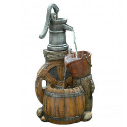 Old Fashion Pump Barrel Fountain - Outdoor Fountain Pros