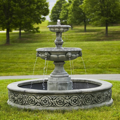 Parisienne Two Tier Outdoor Water Fountain, Tiered Outdoor Fountains - Outdoor Fountain Pros