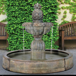 Piña Cascada Outdoor Fountain in Valencia Pool - Outdoor Fountain Pros
