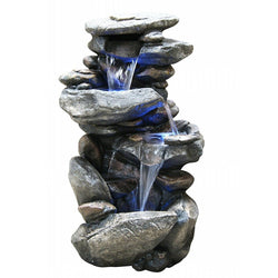 Rock Waterfall Fountain With LED Light - Outdoor Fountain Pros