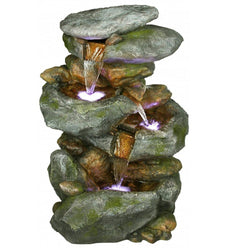 Four Tier Rock Waterfall Fountain With LED Lights - Outdoor Fountain Pros