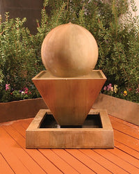 Small Oblique With Ball Garden Water Fountain, Garden Outdoor Fountains - Outdoor Fountain Pros