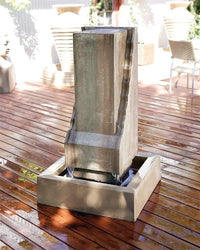 Scallop Monolith Garden Water Fountain, Garden Outdoor Fountain - Outdoor Fountain Pros