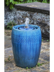Tall Malmo Glazed Garden Fountain in  Mediterranean Blue - Garden Outdoor Fountains - Outdoor Fountain Pros