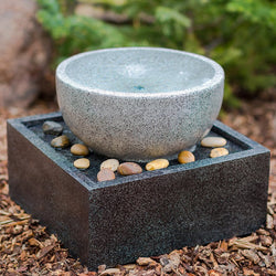 Tenaya Granite Vortex Fountain with LED Lights - Outdoor Fountain Pros