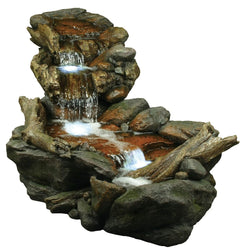 Three Tier Rainforest Fountain With LED Lights - Outdoor Fountain Pros