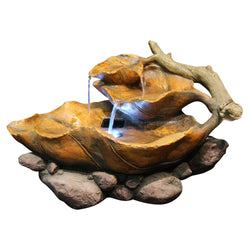 Tiered Leaf Tabletop Fountain With White LED Lights - Outdoor Fountain Pros