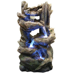 Tiering Rainforest Fountain With LED Lights - Outdoor Fountain Pros