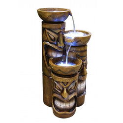 Tiki Fountain With LED Lights - Outdoor Fountain Pros