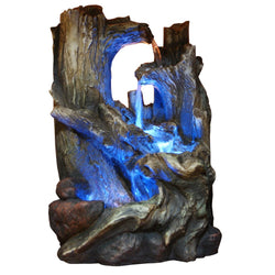 Tree Trunk Tabletop Fountain With LED Light - Outdoor Fountain Pros