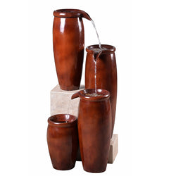 Vessel Indoor/Outdoor Floor Fountain in Textured Rust Finish - Outdoor Fountain Pros