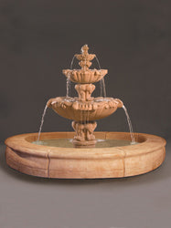 Vesuvio Fountain with Fiore Pond - Gray - Outdoor Fountain Pros