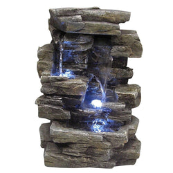 Waterfall Tabletop Fountain With White LED Lights - Outdoor Fountain Pros