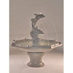 Dolphins With Octagon Bowl Cast Stone Garden Fountain, Garden Outdoor Fountains - Outdoor Fountain Pros