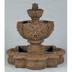 Greenleaf Majesty Tiered Garden Fountain in Quatrefoil Basin, Tiered Outdoor Fountains - Outdoor Fountain Pros