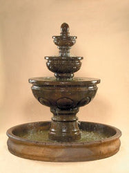 Baroque Tiered Outdoor Fountain with 74 inch Basin, Tiered Outdoor Fountains - Outdoor Fountain Pros