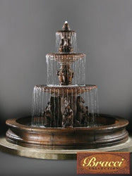 3 Tier Cavalli Outdoor Water Fountain With 12 Foot Bracci Basin, Tiered Outdoor Fountains - Outdoor Fountain Pros