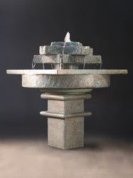 Tranquil Star Cast Stone Garden Fountain, Tiered Outdoor Fountains - Outdoor Fountain Pros