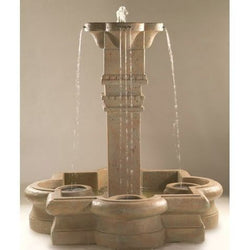 Plinth Column Outdoor Fountain in Quatrefoil Basin, Large Outdoor Fountains - Outdoor Fountain Pros