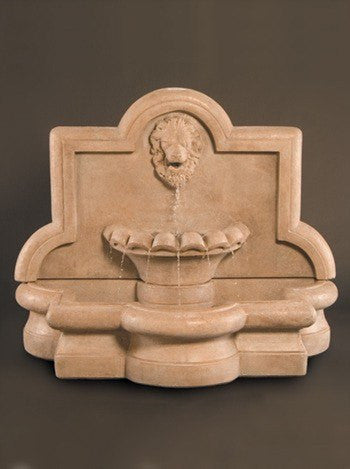 Large Lion Quatrefoil Outdoor Wall Water Fountain, Wall Outdoor Fountains - Outdoor Fountain Pros