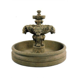Lion Tiered Garden Fountain With 46 Inch Basin, Garden Outdoor Fountains - Outdoor Fountain Pros