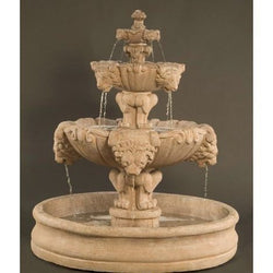 Lion Tiered Outdoor Fountain With 55 Inch Basin, Tiered Outdoor Fountains - Outdoor Fountain Pros