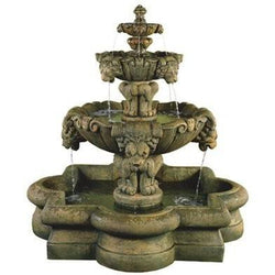 Courtyard Lion Tiered Outdoor Water Fountain in Quatrefoil Basin, Tiered Outdoor Fountains - Outdoor Fountain Pros