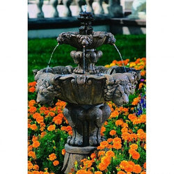 Lion Tiered Garden Fountain - Small, Tiered Outdoor Fountains - Outdoor Fountain Pros