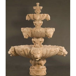 Three Tiers Lion Outdoor Fountain - Extra Large, Tiered Outdoor Fountains - Outdoor Fountain Pros