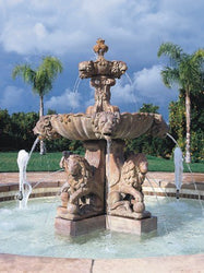 Plumbed Large Lion Outdoor Water Fountain, Tiered Outdoor Fountains - Outdoor Fountain Pros