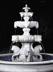 Lion Outdoor Fountain with Lion Pedestal and Plumped Bowl - Extra Large, Large Outdoor Fountains - Outdoor Fountain Pros