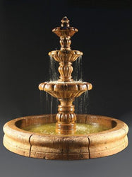 Espana Outdoor Water Fountain with Old Euro Basin, Tiered Outdoor Fountains - Outdoor Fountain Pros