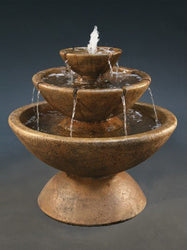 3-Tier Color Bowl with Lips Garden Water Fountain, Tiered Outdoor Fountains - Outdoor Fountain Pros