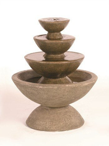 4-Tier Color Bowl Garden Water Fountain, Tiered Outdoor Fountains - Outdoor Fountain Pros