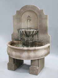 Provincial Cast Stone Wall Outdoor Fountain With Pedestals, Wall Outdoor Fountains - Outdoor Fountain Pros