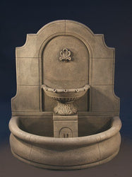 Provincial Cast Stone Wall Outdoor Fountain With Basin, Wall Outdoor Fountains - Outdoor Fountain Pros