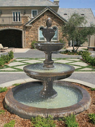 Mediterranean Outdoor Water Fountain With Old Euro Basin, Tiered Outdoor Fountains - Outdoor Fountain Pros