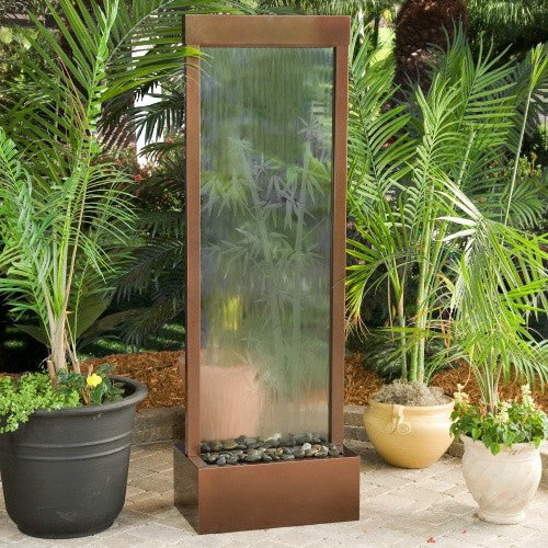 6 39 gardenfall etched bamboo fountain with led lights for Bamboo water feature