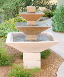 Concrete Three Tiered Oblique Fountain - Outdoor Fountain Pros