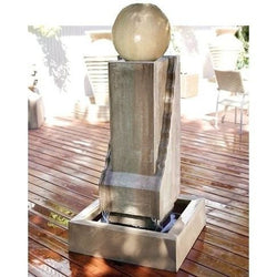 Scallop Monolith with Ball Outdoor Fountain, Large Outdoor Fountains - Outdoor Fountain Pros