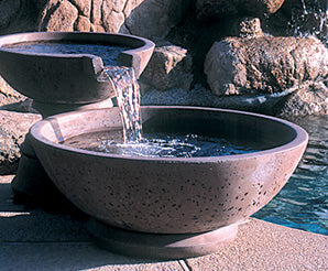 Concrete Scupper Wok Series Fountain - Outdoor Fountain Pros