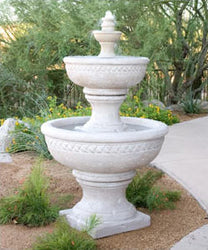 Concrete Three Tiered Sonoma Fountain - Outdoor Fountain Pros