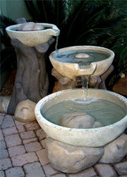 Concrete 3 Section Sycamore Series Fountain - Outdoor Fountain Pros