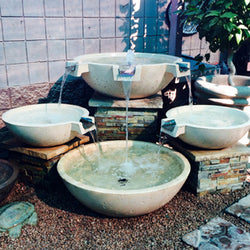 Concrete Triple Scupper Wok Series Fountain - Outdoor Fountain Pros